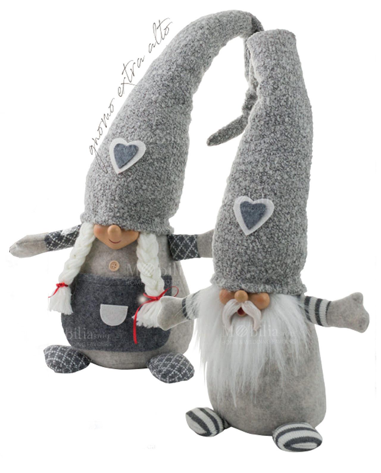 Gnomo grande grigio con cappello lungo maschio e femmina - Mobilia ... 26741a0e37c8