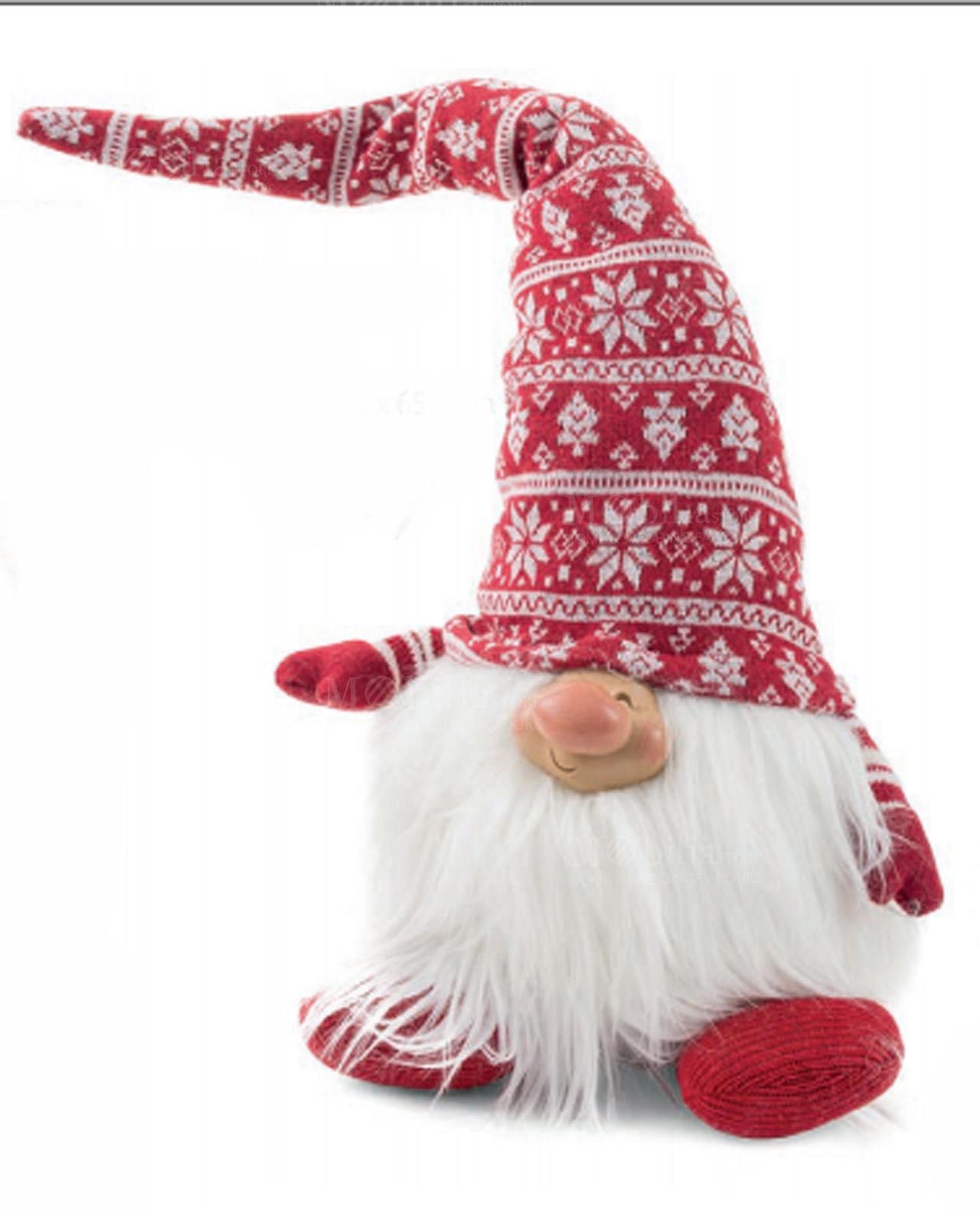 Gnomo con cappello grande lana rosso con cristalli ghiaccio ... a74369affcd5