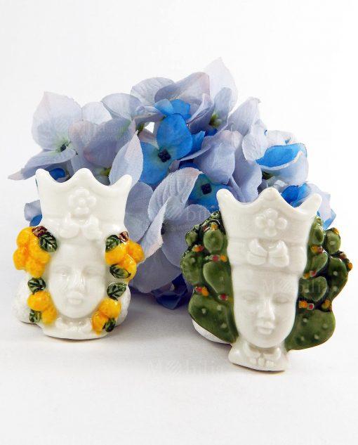 magnete testa di moro due modelli assortiti con limoni e con pala di fico dindia linea i mori ad emozioni