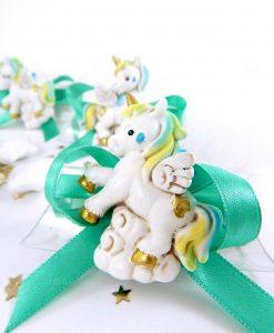magnete unicorno azzurro e verde