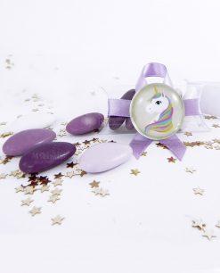 magnete vetro con unicorno coda viola