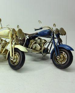moto harley 20 cm blu e bianca da collezione