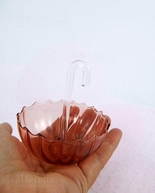 ombrellino vetro trasparente colorato su mano linea ombrellini ad emozioni