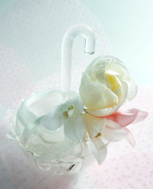ombrellino vetro trasparente con sacchetto con fiore linea ombrellini ad emozioni