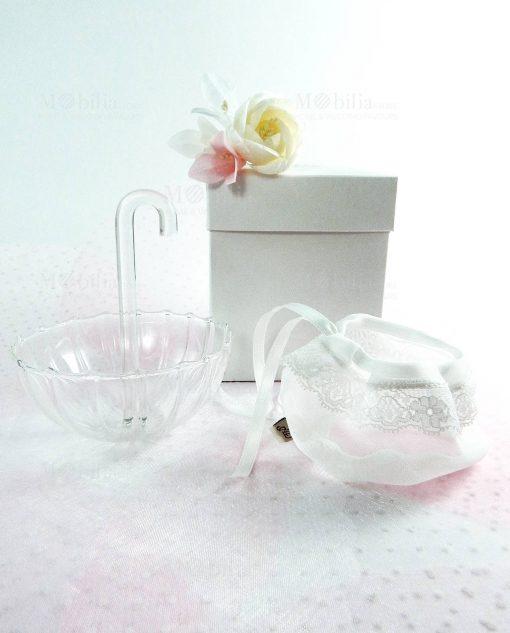 ombrellino vetro trasparente medio con scatola sacchetto bianco con pizzo con fiore foto frontale linea ombrellini ad emozioni