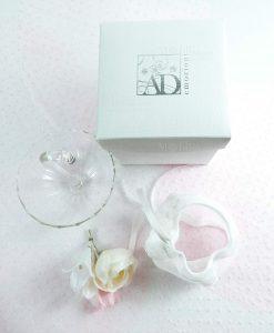 ombrellino vetro trasparente medio con scatola sacchetto bianco con pizzo con fiore linea ombrellini ad emozioni