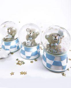 orsetto con stellina dentro palla di vetro bianco e azzurro 1