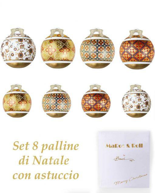 palline di natale grandi e piccole porcellana decorata baci milano merry christmas con astuccio