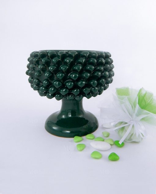 pigna ceramica verde artigianale con sacchetto bianco e verde