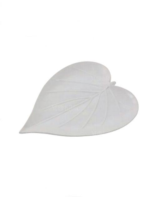 porta caramelle a forma di foglia ceramica bianca