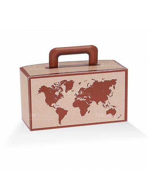 porta confetti a forma di valigia con cartina mondo