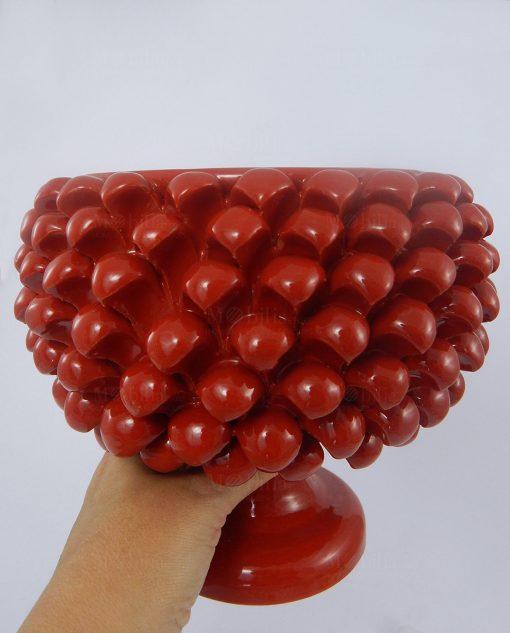 porta pianta mezza pigna ceramica rossa