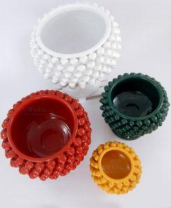 porta pianta pigna ceramica siciliana artigianale vari colori