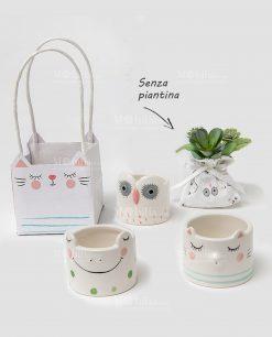 portacandele con animaletti assortiti porcellana senza piantina con sacchetto ad emozioni 1