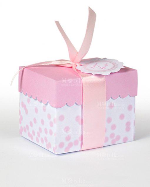 portaconfetti cartoncino bianco e rosa con pois