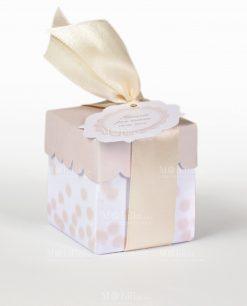 portaconfetti scatolina bianca con coperchio e pois sabbia