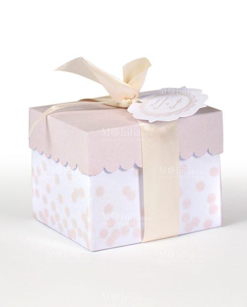 portaconfetti scatolina con coperchio sabbia e pois