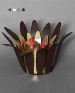 portafrutta modello cassiopea colore marrone cortene e oro arti e mestieri