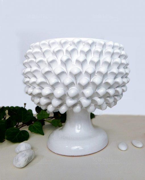 portapianta pigna ceramica bianca artigianale siciliana H23cm