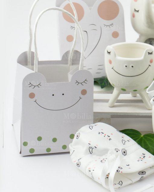 portapiantine animaletti porcellana con bag bustina cartoncino linea nature ad emozioni