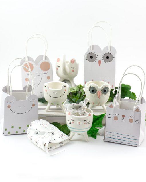 portapiantine animaletti porcellana con piantina grassa e bag bustina cartoncino linea nature ad emozioni