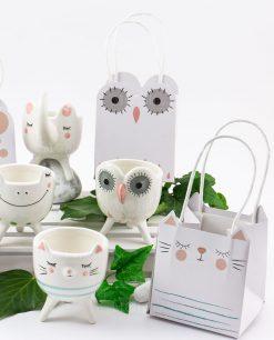 portapiantine porcellana con bag bustina animaletti linea nature ad emozioni
