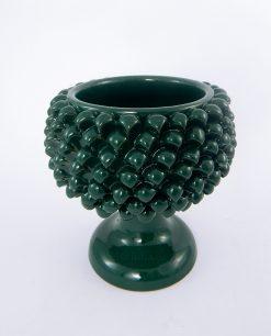portavaso mezza pigna ceramica verde artigianale