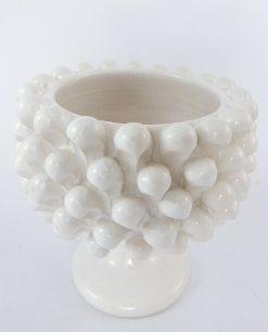 portavaso pigna ceramica bianca artigianale