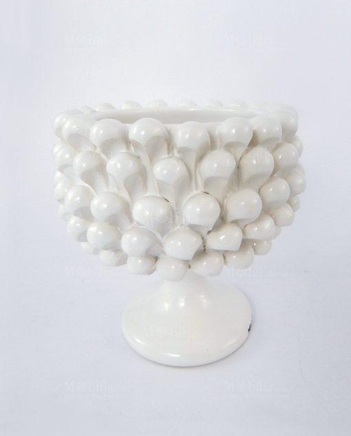portavaso pigna ceramica bianca media