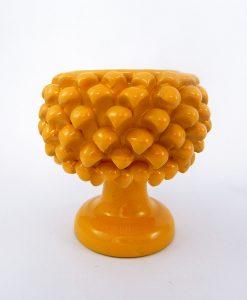 portavaso pigna ceramica gialla media