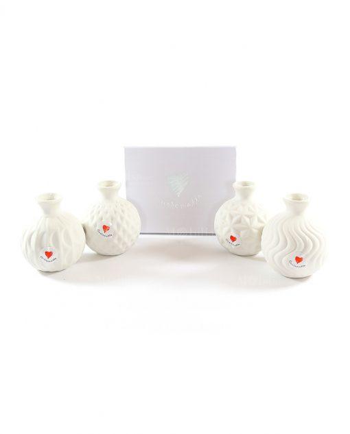 profumatore ceramica bianca decorata a rilievo simplywhite cuorematto
