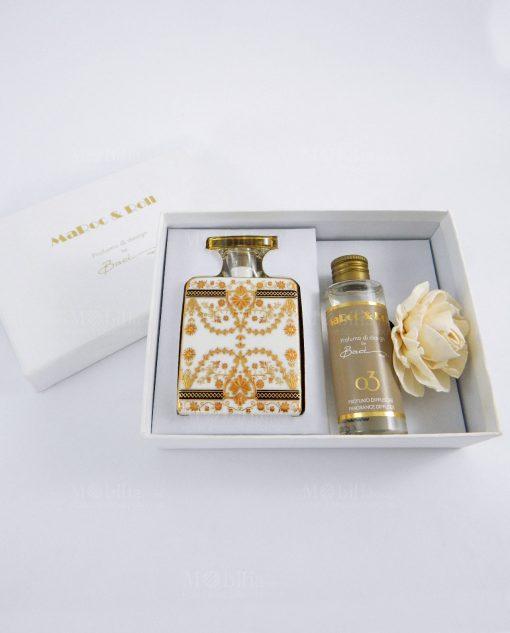 profumatore debbie con fragranza e fiore carta di gelso con scatola cartoncino bianco
