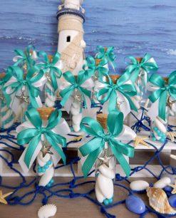 provette vetro con tappo sughero con nastri bianchi e tiffany e ciondolo stella marina