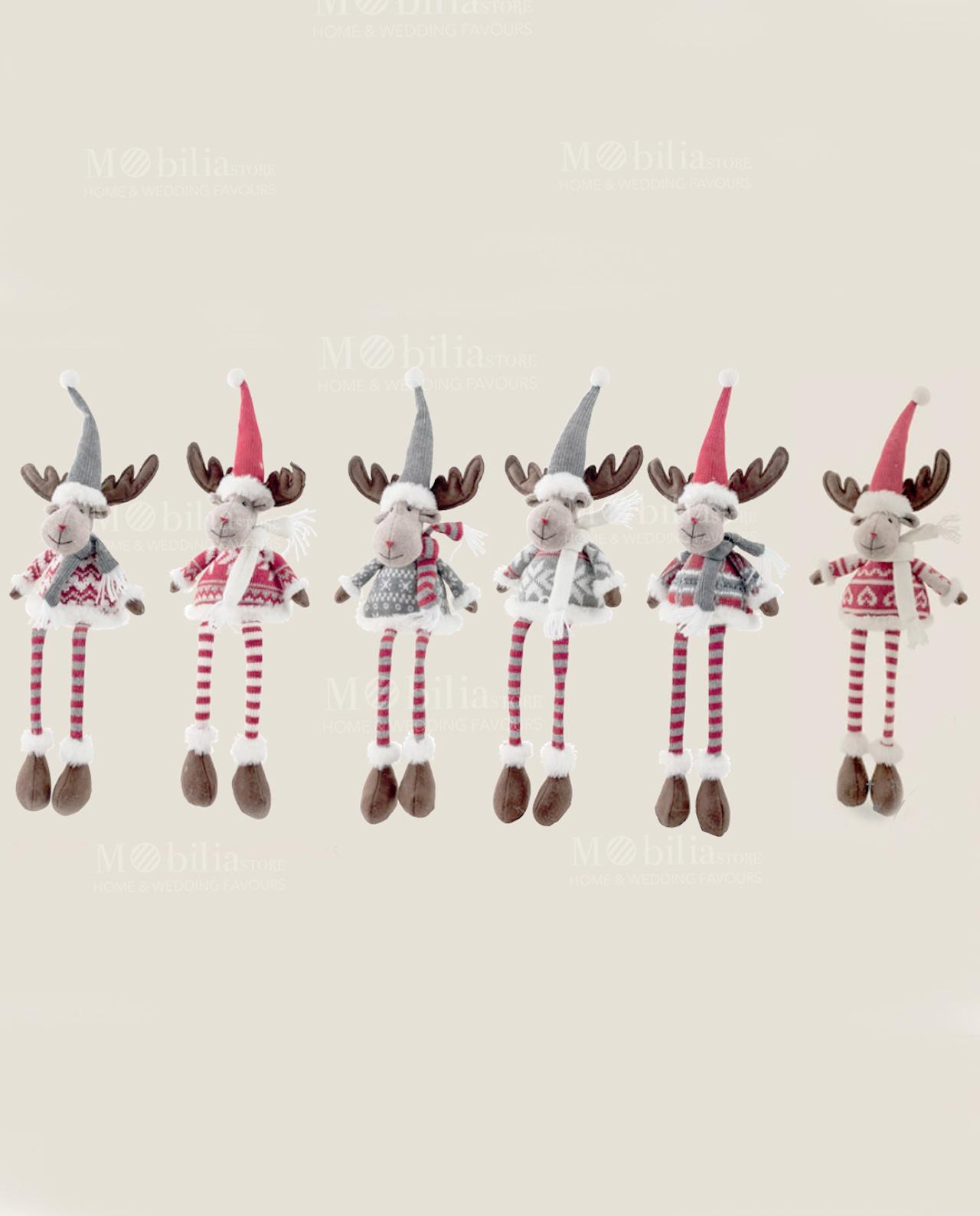 Renna peluche con gambe lunghe e cappello 6 forme - Mobilia Store ... c57f9fbd29ef