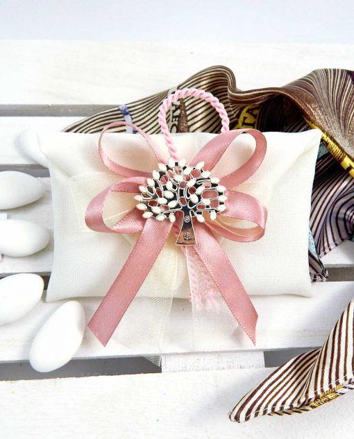 saacchettino bustina con ciondolo albero della vita e nastro rosa