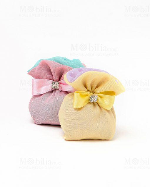 saccheto mini con fiocco strass giallo e rosa linea les petit royal ad emozioni 1