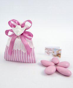 sacchettino a righe rosa con gessetto angelo bianco e nastro rosa