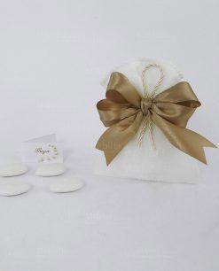 sacchettino bustina bianco con nastro tortora doppi fiocchi