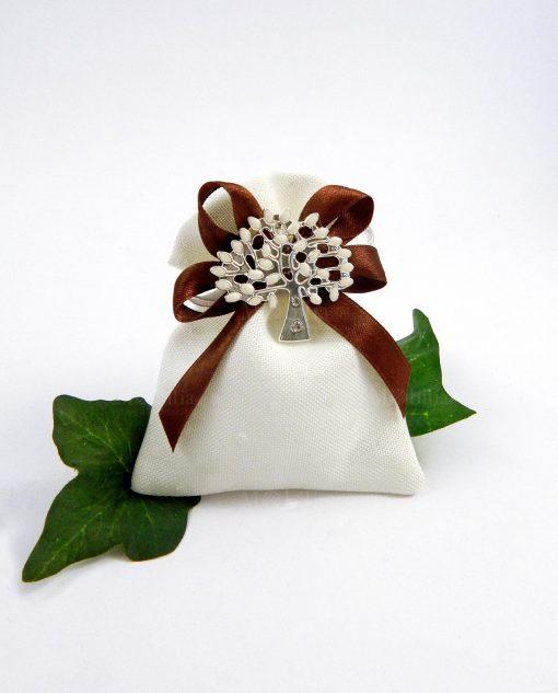 sacchettino con ciondolo alberoo della vita e nastro marrone