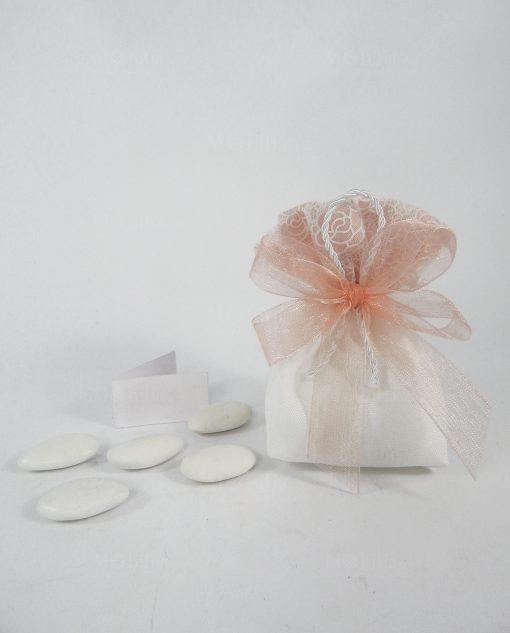 sacchettino con tirante bianco e decorato a fiori