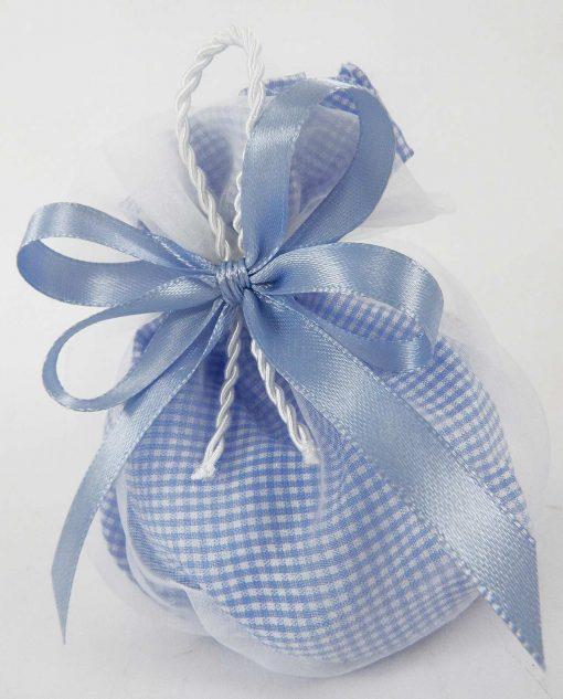 sacchettino cotone e tulle azzurro e bianco