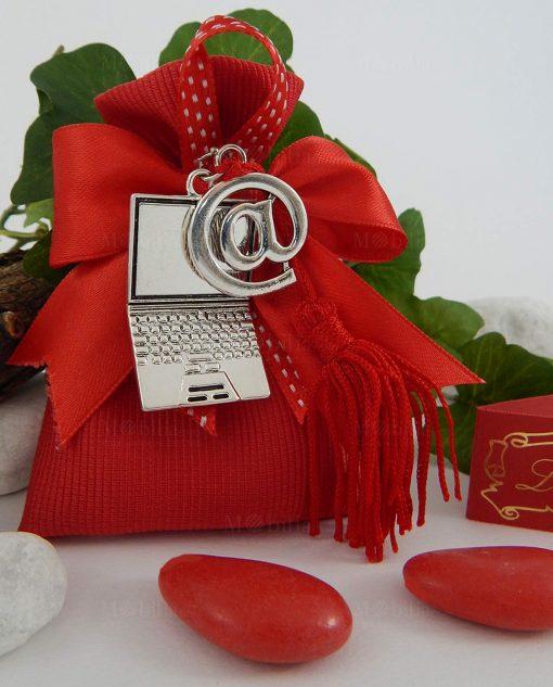 sacchettino cotone rigato rosso con pc e chiocciola 1