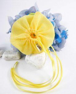 sacchettino giallo con tirante e con logo cucito a mando AD linea trilli ad emozioni