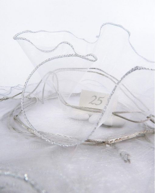 sacchettino organza bianca con tirante argento