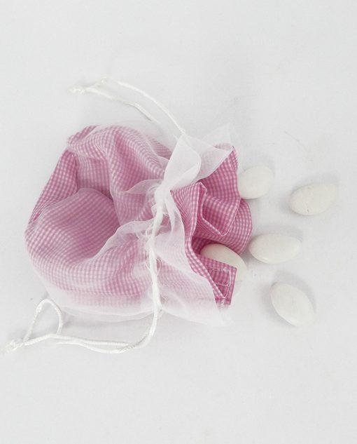 sacchettino portaconfetti cotone a quadri bianchi e rosa