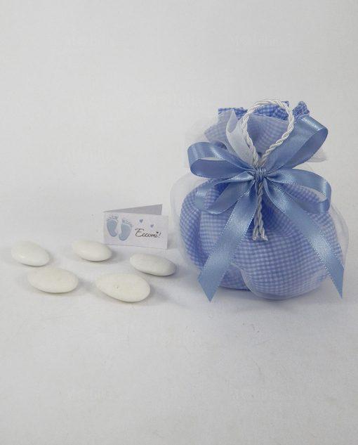 sacchettino pouf a quadri con nastro azzurro a doppi fiocchi