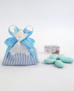sacchettino righe azzurre con nastro azzurro e gesso angelo