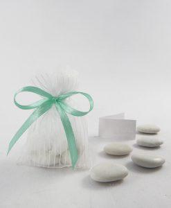 sacchettino tulle bianco con righe