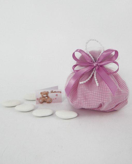 sacchetto a quadretti rosa con nastro raso fuxia