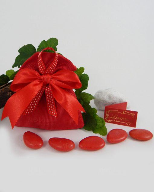 sacchetto con fiocco raso rosso